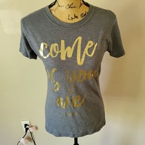TulTex Gray Gold Come As You Are T-shirt Large
